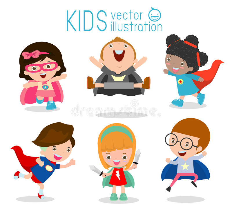 Jonge geitjes met Superhero-Kostuums, Superhero-Kinderen, Superhero-Jonge geitjes vector illustratie