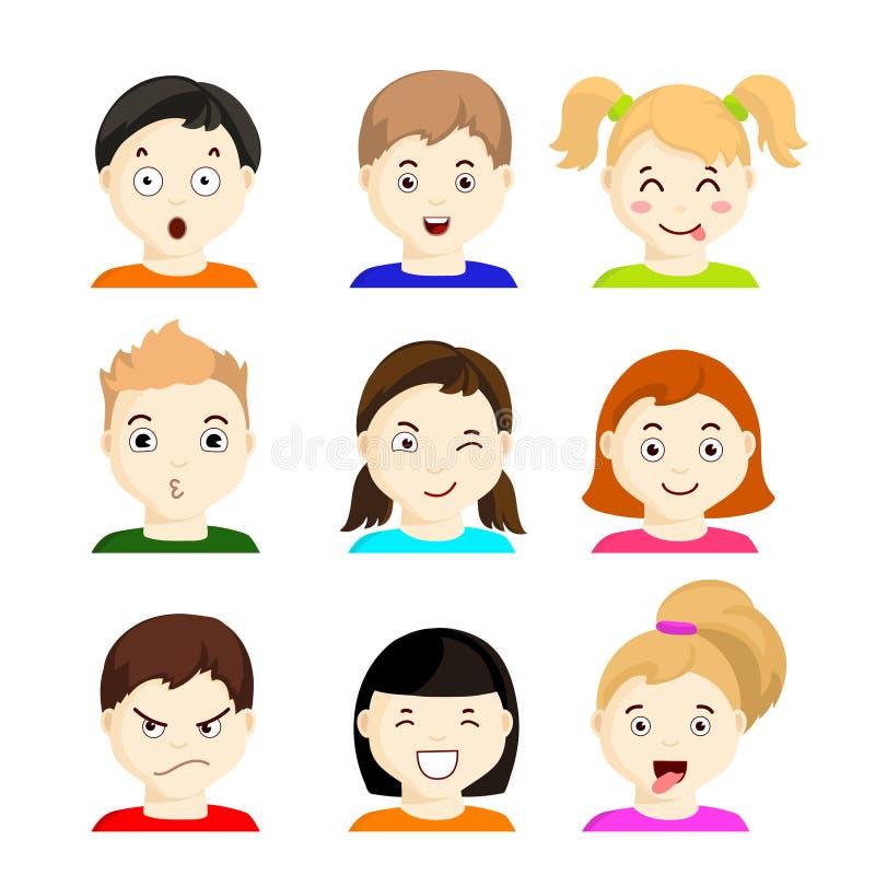 Jonge geitjes met verschillende emoties Reeks 1 vector illustratie