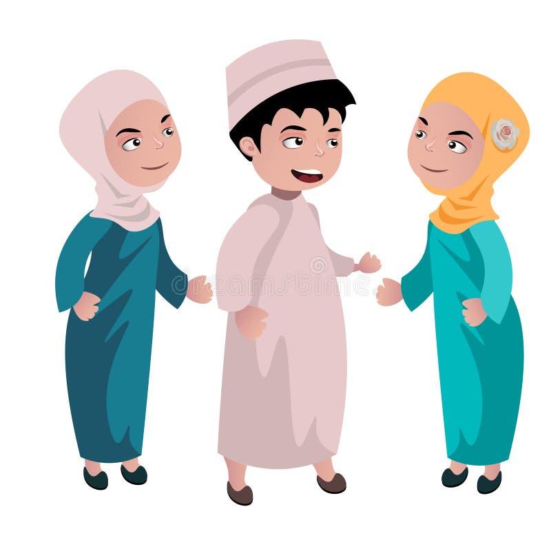 Jonge geitjes moslimbeeldverhaal stock illustratie