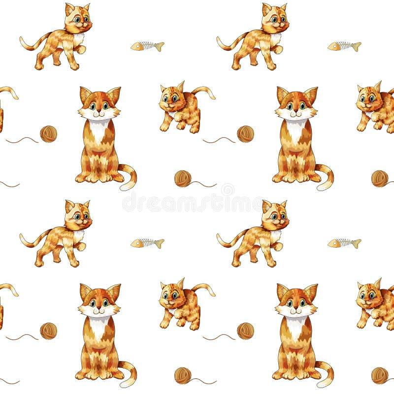 Jonge geitjes naadloos patroon met leuke zittings kleurrijke katten Krabbel oranje katjes stock illustratie