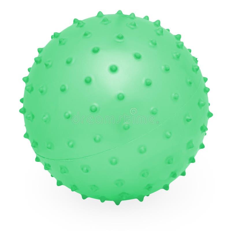 Jonge geitjes om Silicone Opblaasbare Groene Knobbelige Bal stock afbeelding