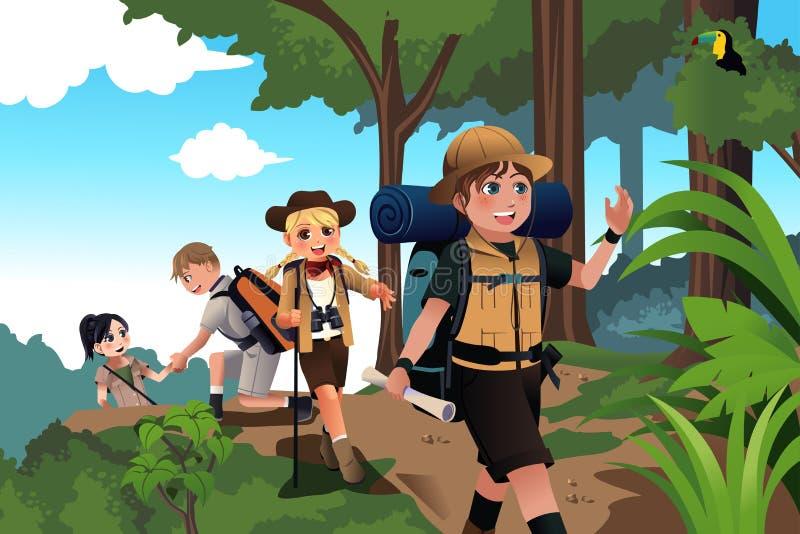 Jonge geitjes op een avonturenreis vector illustratie