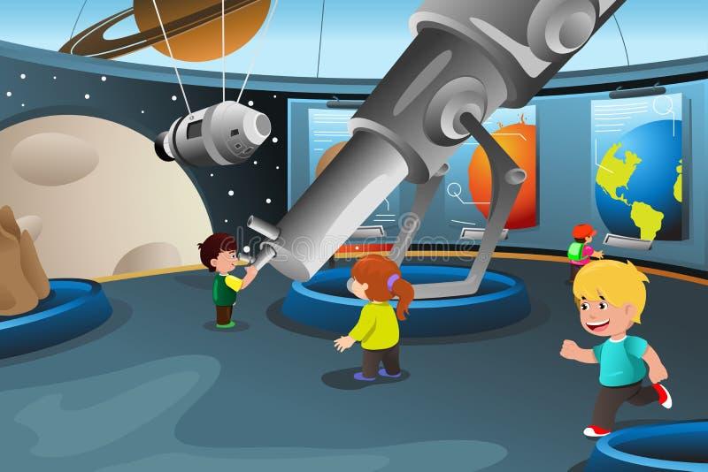 Jonge geitjes op een schoolreis aan een planetarium royalty-vrije illustratie