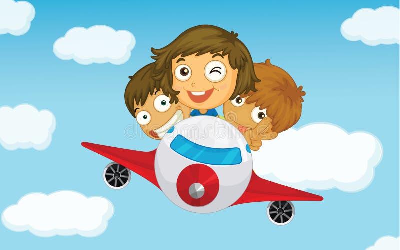 Jonge geitjes op een vliegtuig stock illustratie