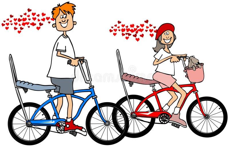 Jonge geitjes op fietsen in liefde stock illustratie