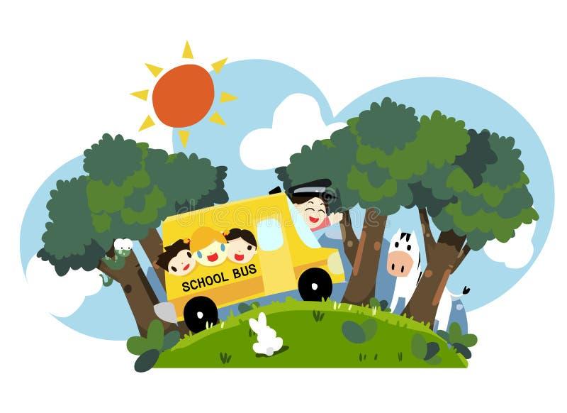jonge geitjes op schoolbus - vector   vector illustratie