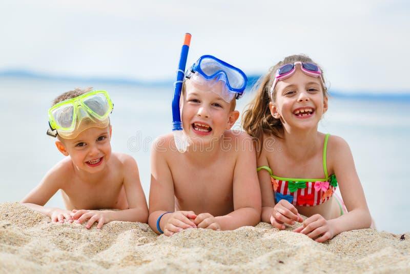 Jonge geitjes op strand stock fotografie