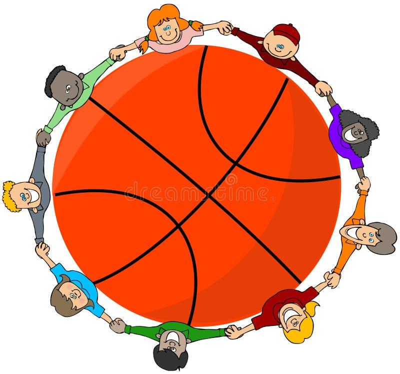 Jonge geitjes rond een basketbal vector illustratie