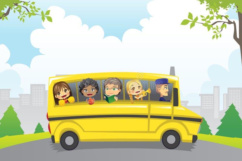 Jonge geitjes in schoolbus stock illustratie