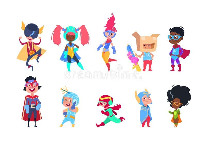 Jonge geitjes superheroes De kinderen van beeldverhaalsuperhero Jongens en meisjes in Carnaval-masker vectorset van tekens royalty-vrije illustratie