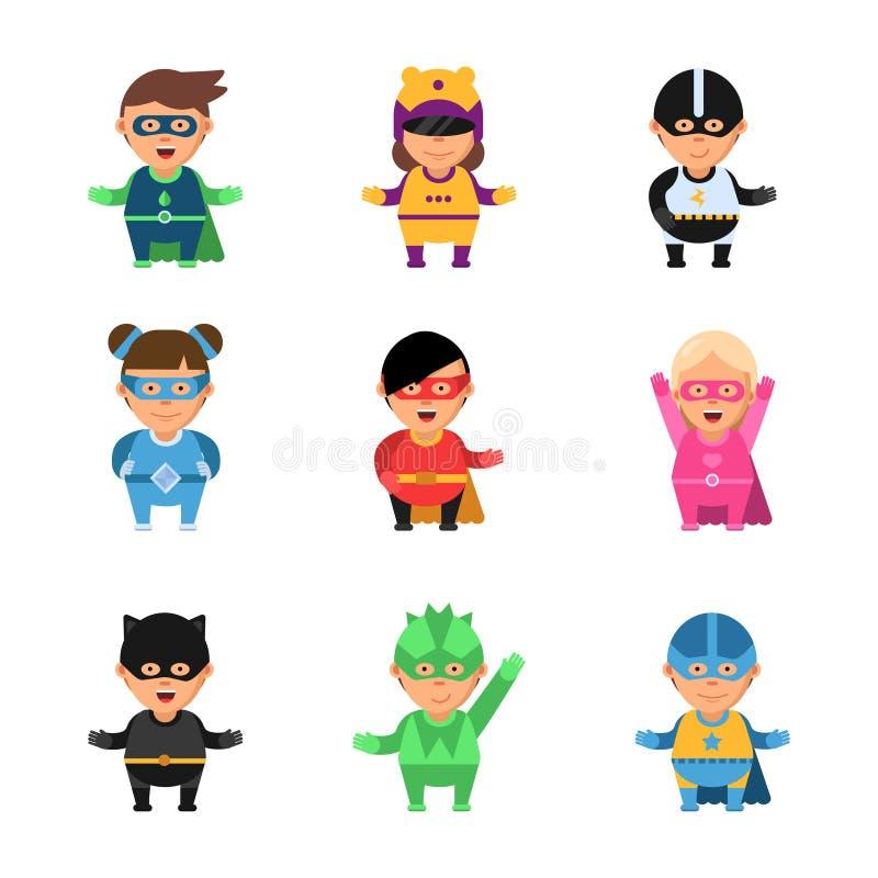 Jonge geitjes superheroes Karakters van het beeldverhaal de 2d spel van helden in masker leuke mannelijke en vrouwelijke sup moed vector illustratie