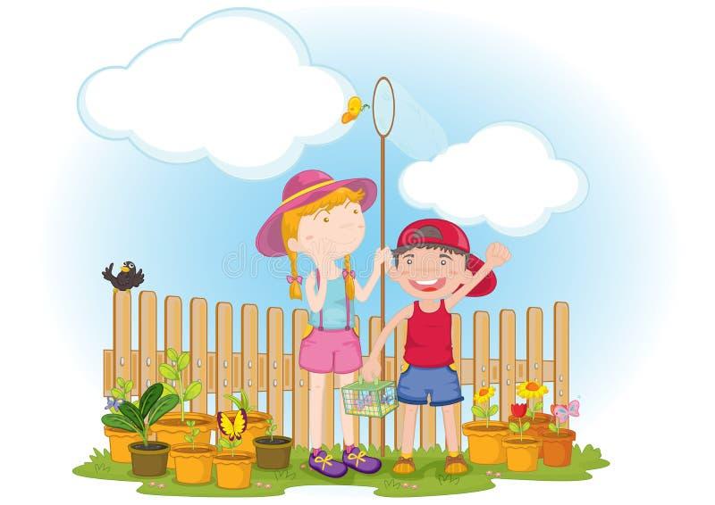 Jonge geitjes in tuin royalty-vrije illustratie