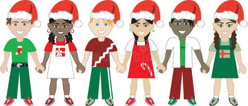 Jonge geitjes van Kerstmis verenigden 3 royalty-vrije illustratie