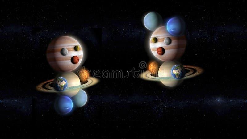 Jonge geitjes van planeten die in de ruimte, abstracte melkweg spelen stock illustratie