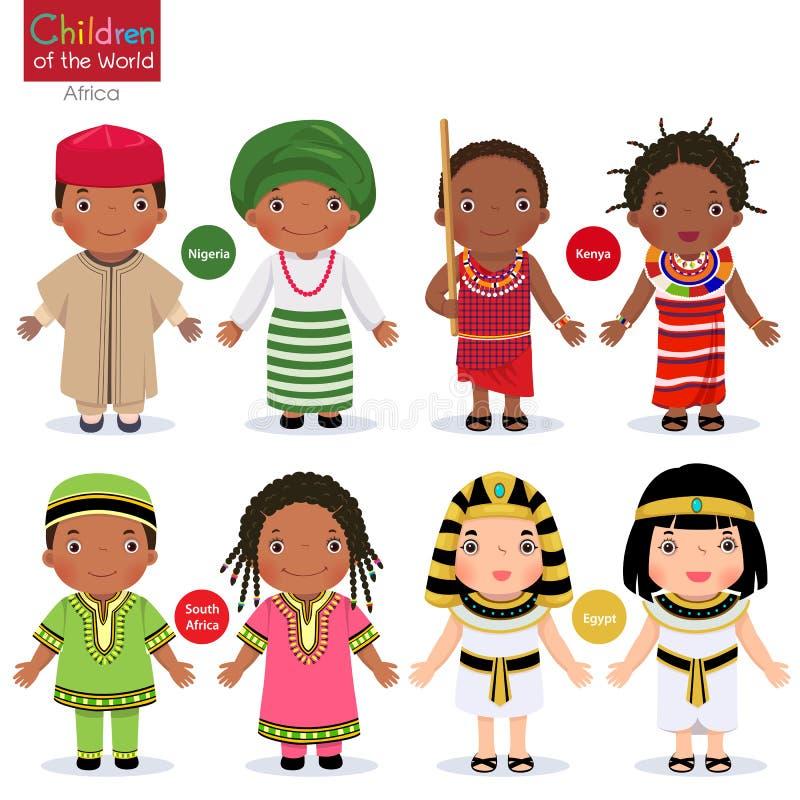 Jonge geitjes in verschillende traditionele kostuums Nigeria, Kenia, Zuid-Afrika, Egypte vector illustratie