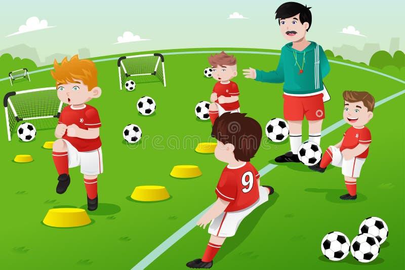 Jonge geitjes in voetbalpraktijk vector illustratie