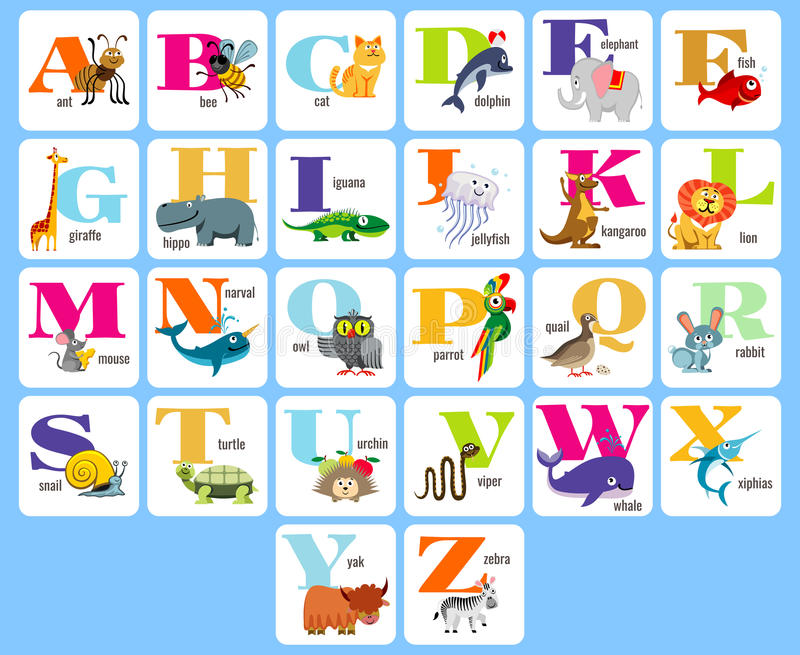 Jonge geitjes volledige alphabeth met de vectorillustratie van beeldverhaaldieren vector illustratie