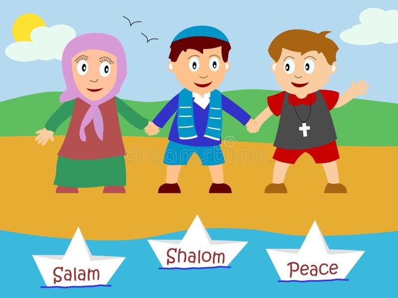 Jonge geitjes voor Vrede stock illustratie