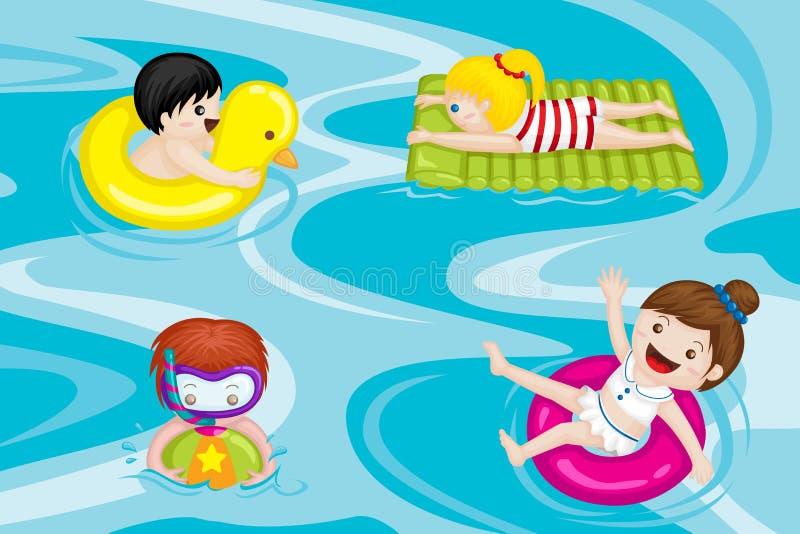 Jonge geitjes in zwembad stock illustratie