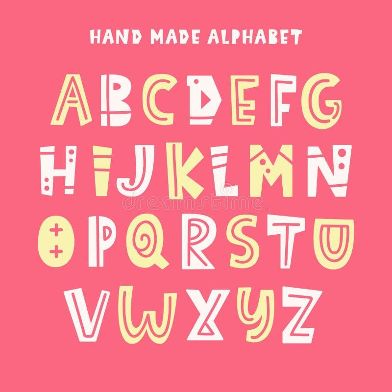 In Jonge geitjesalfabet ABC-Hand het Van letters voorzien vector illustratie