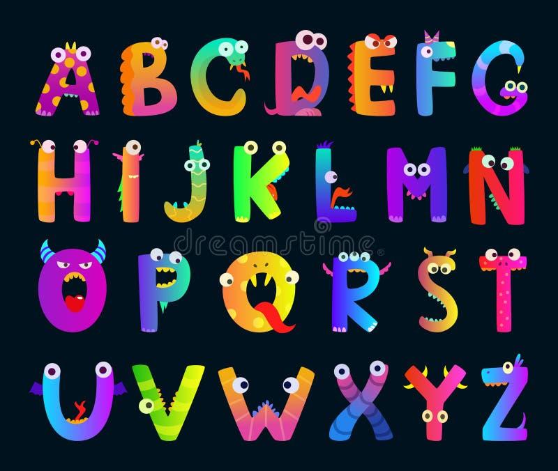 Jonge geitjesalfabet met grappige monsterbrieven Vector leuke karakters vector illustratie
