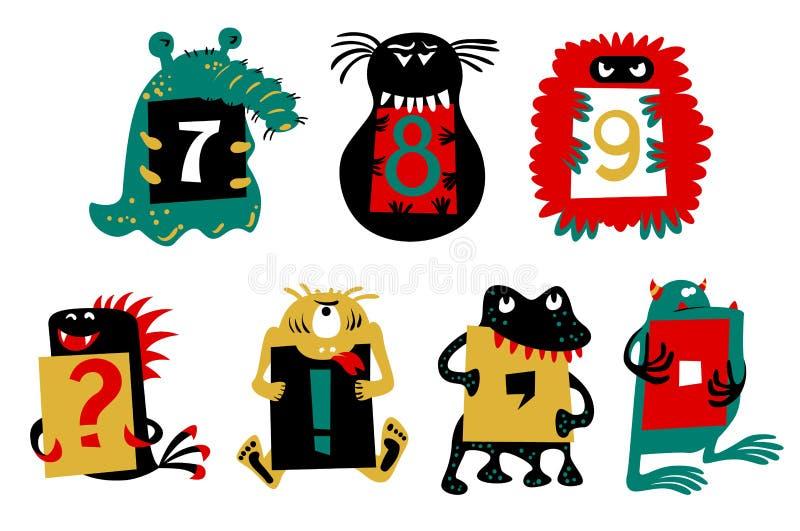 Jonge geitjesalfabet met leuke kleurrijke monsters Ñ  of insecten Grappig FI stock illustratie