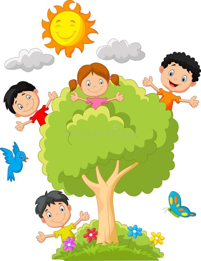 Jonge geitjesbeeldverhaal het spelen op boom vector illustratie