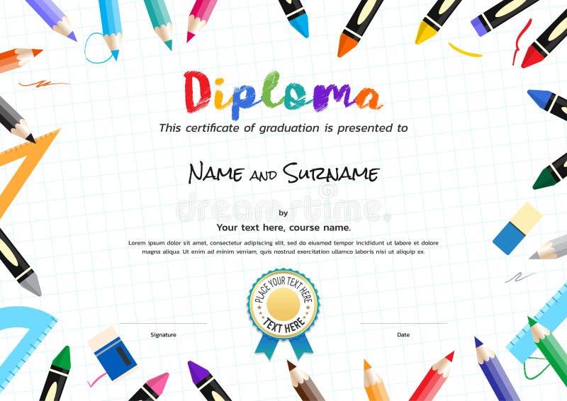 Jonge geitjesdiploma of certificaatmalplaatje met het schilderen van materiaalgrens stock illustratie