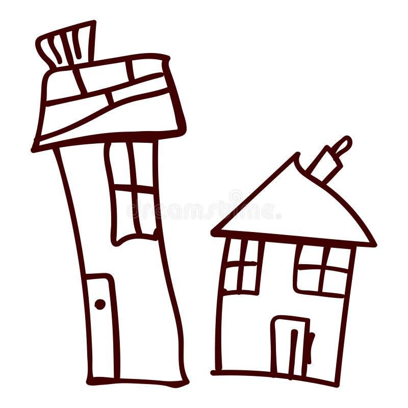 Jonge geitjeshuis in krabbelstijl vector illustratie