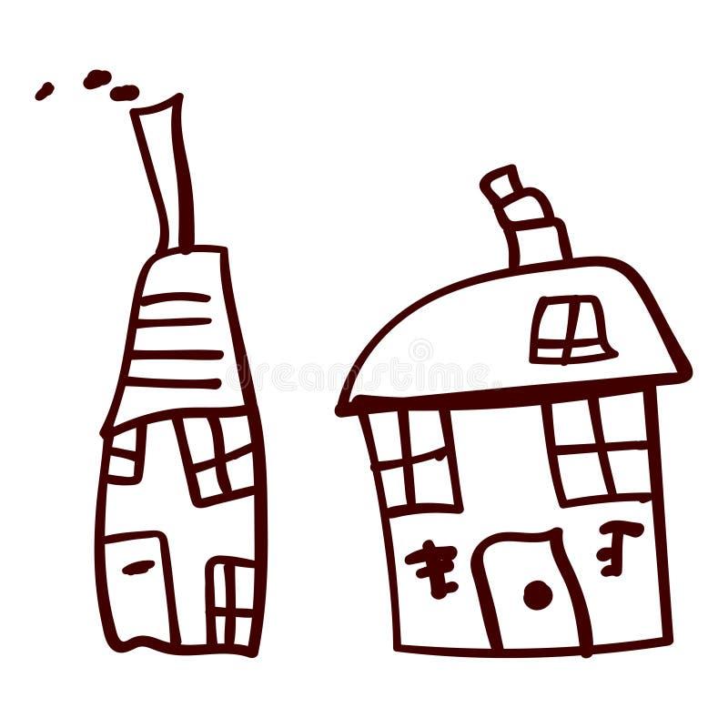 Jonge geitjeshuis in krabbelstijl stock illustratie