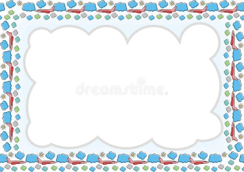Jonge geitjeskader - Grens met gemaakt van wolk, vliegtuig en zon royalty-vrije illustratie