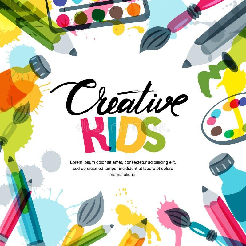 Jonge geitjeskunst, onderwijs, het concept van de creativiteitklasse Vectorbanner, afficheachtergrond met kalligrafie, potlood, b vector illustratie
