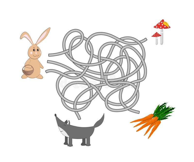 Jonge geitjeslabyrint Help het konijn om een uitweg van het labyrint te vinden Grappig spel voor kinderen stock illustratie
