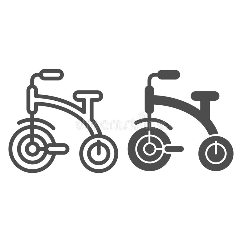 Jonge geitjeslijn en glyph pictogram met drie wielen De fiets vectordieillustratie met drie wielen van kinderen op wit wordt geïs vector illustratie