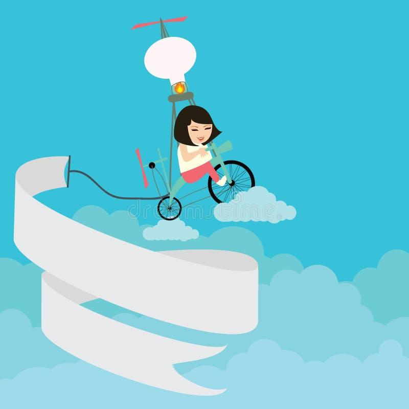 Jonge geitjesmeisjes die fiets berijden die op de hemel met tekstbanner vliegen royalty-vrije illustratie