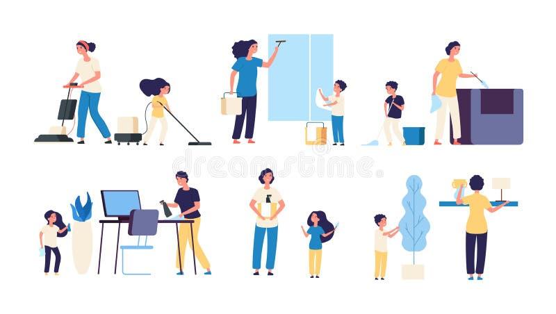 Jonge geitjesouders het schoonmaken Van de kinderenreinigingsmachines van de moedervader van het het huishoudelijk werk het zuige vector illustratie
