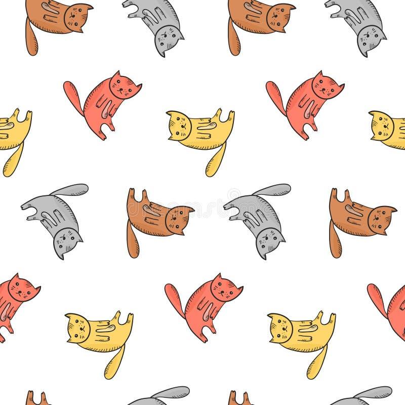 Jonge geitjespatroon met leuke zittings kleurrijke katten stock illustratie