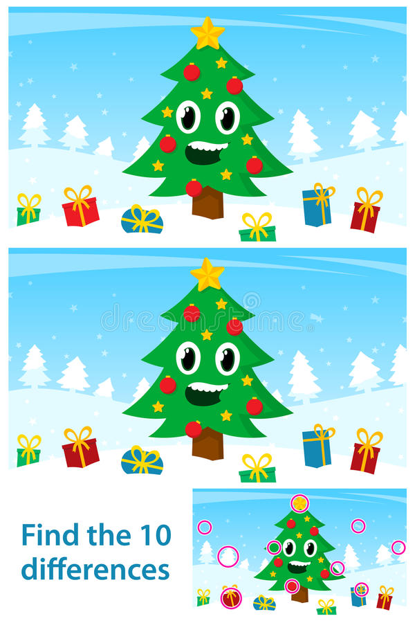 Jonge geitjesraadsel met een gelukkige Kerstboom vector illustratie