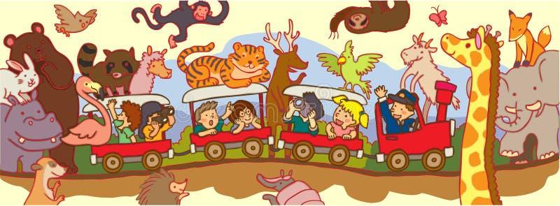 Jonge geitjesreis door de wildernissafari door trein stock illustratie