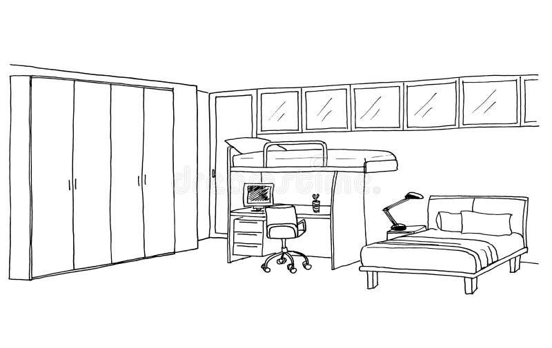 Jonge geitjesruimte, grafische schets vector illustratie