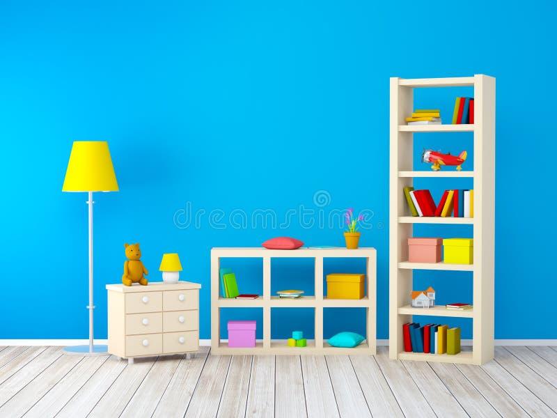 Jonge geitjesruimte met boekenkasten vector illustratie