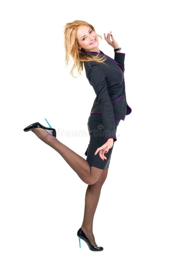 Jonge gelukkige bedrijfsdievrouw, op wit wordt geïsoleerd royalty-vrije stock foto