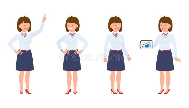 Jonge, gelukkige bureaudame die zich met tablet bevinden, die overwinningsteken, het glimlachen tonen vector illustratie
