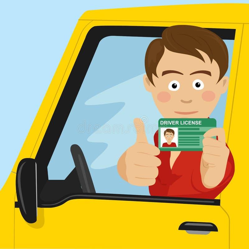 Jonge gelukkige jongen die zijn nieuwe zitting van de bestuurdersvergunning in zijn auto tonen stock illustratie