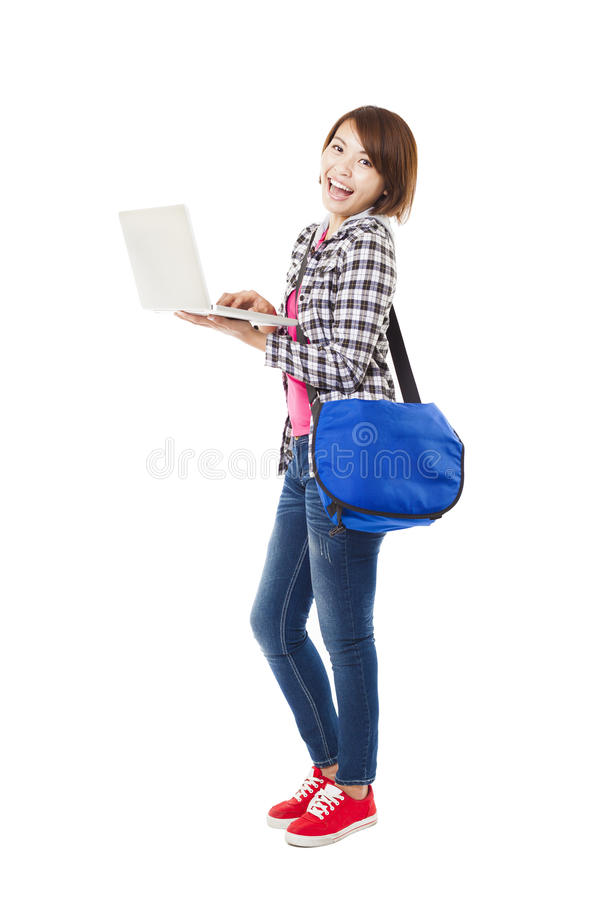 Jonge gelukkige student met laptop stock afbeelding