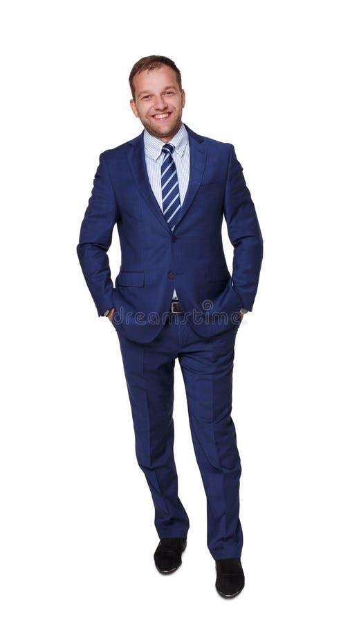 Jonge gelukkige succesvolle die zakenman op wit wordt geïsoleerd stock foto's