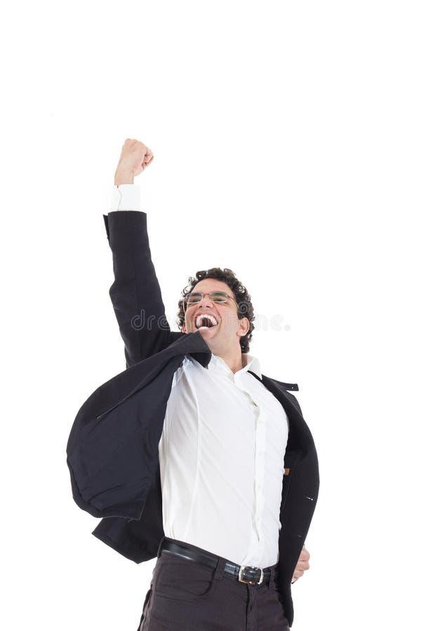 Jonge gelukkige zakenmansprongen in zwart kostuum op wit royalty-vrije stock foto's