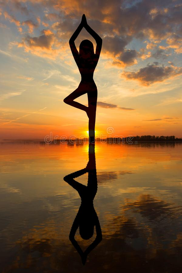Jonge gezonde vrouw het praktizeren yoga royalty-vrije stock foto's