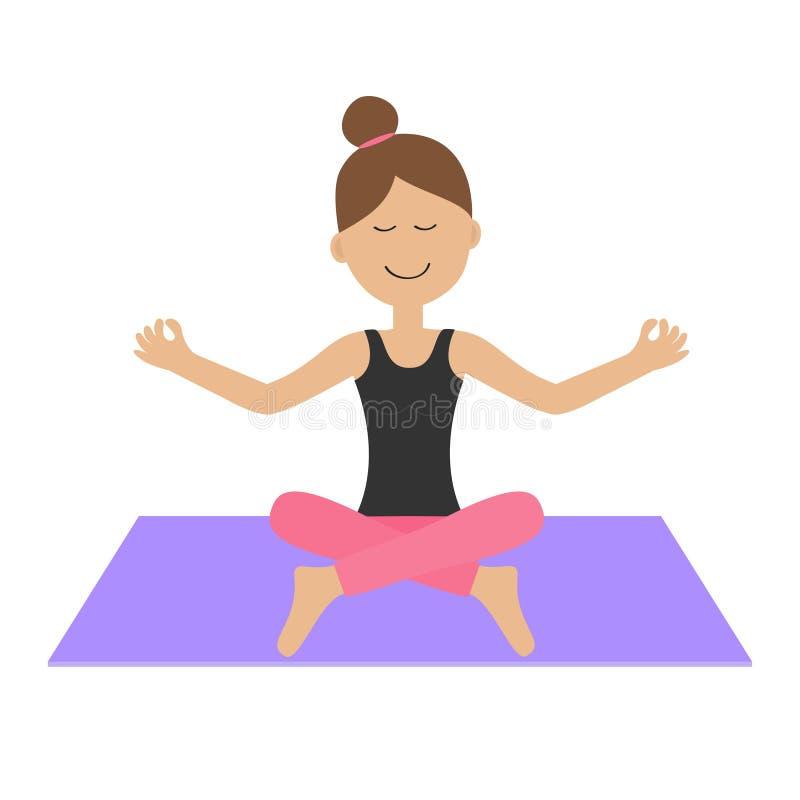 Jonge girl do yoga De leuke het karakterzitting van de beeldverhaalvrouw in lotusbloem stelt vector illustratie