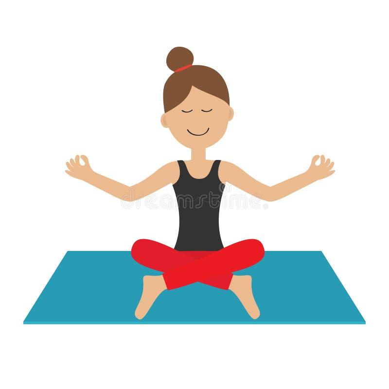 Jonge girl do yoga De leuke het karakterzitting van de beeldverhaalvrouw in lotusbloem stelt Gezonde Levensstijl Yogastootkussen  stock illustratie